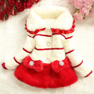 Stylish Long Sleeve Color Block Buttoned Fur Coat For Girl