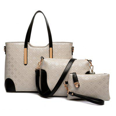 Trendy Colour Block and Embossing Design Women's Shoulder Bag
