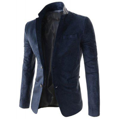 Trendy Slimming Lapel Houndstooth Splicing Long Sleeve Cotton Blend Blazer For Men