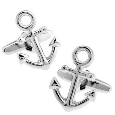 Pair of Stylish Solid Color Anchor Shape Cufflinks For Men