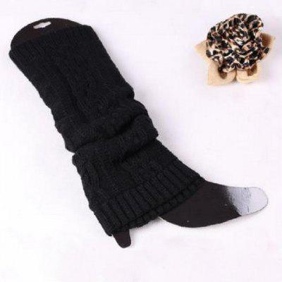 Pair of Chic Braid Shape Pure Color Elastic Knitted Leg Warmers For Women
