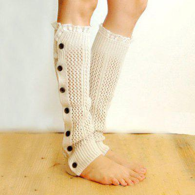 Pair of Chic Buttons Lace Edge Hollow Out Knitted Leg Warmers For Women