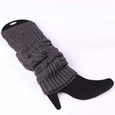 Pair of Chic Solid Color Breathable Knitted Leg Warmers For Women