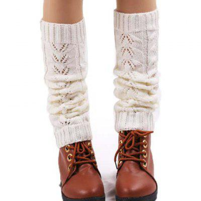 Pair of Chic Hollow Out Solid Color Knitted Leg Warmers For Women