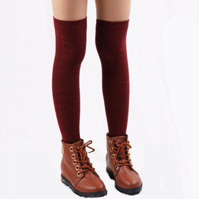 Hemp Flower Jacquard Solid Color Knitted Stocking For Women