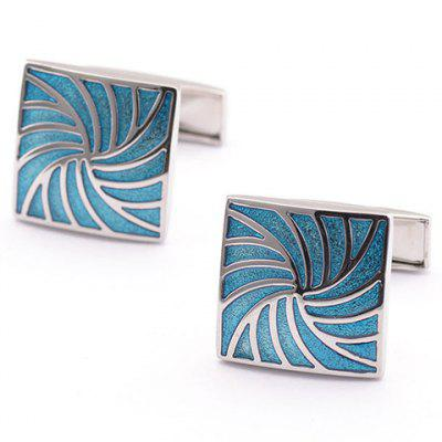 Vortex Shape Alloy Embellished Quadrate Cufflinks For Men