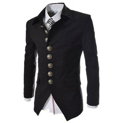 Modish Slimming Turndown Collar Single Breasted Long Sleeve Cotton Blend Blazer For Men