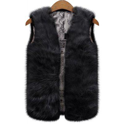 Fashionable V-Neck Pure Color Faux Fur Waistcoat For Women