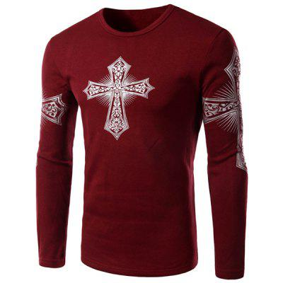 Buy Modern Style Round Neck Color Block Special Cross Print Slimming Long Sleeves Men's Flocky T-Shirt RED XL for $15.92 in GearBest store