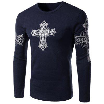 Buy Modern Style Round Neck Color Block Special Cross Print Slimming Long Sleeves Men's Flocky T-Shirt DEEP BLUE M for $15.92 in GearBest store