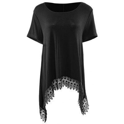 Fashionable Round Neck Short Sleeve Lace Stitching Dovetail Hem Loose Fitting Women's Blouse