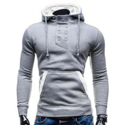 Trendy Hooded Double Breasted Pocket Hemming Slimming Long Sleeve Cotton Blend Hoodie For Men spring design popular men s hooded fleece black yellow size xl