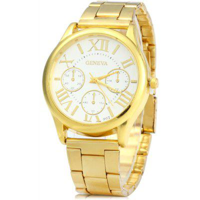 Buy GOLDEN Geneva P07 Golden Case Quartz Watch with Stainless Steel Band for Men for $4.79 in GearBest store