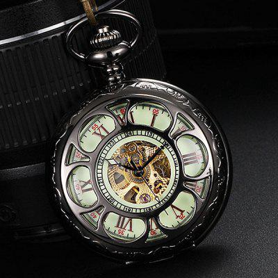 Retro Hollow Out Flip Cover Automatic Mechanical Pocket Watch with Luminous Dial