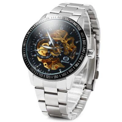 Gucamel Hollow-out Automatic Mechanical Male Watch with Stainless Steel Band