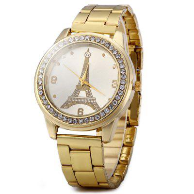 Eiffel Tower Pattern Diamond Women Quartz Watch with Stainless Steel Band