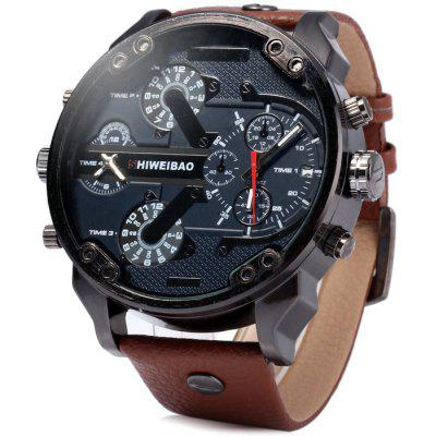 Shiweibao A3137 Male Dual Movt Quartz Watch with Date Function Leather Band