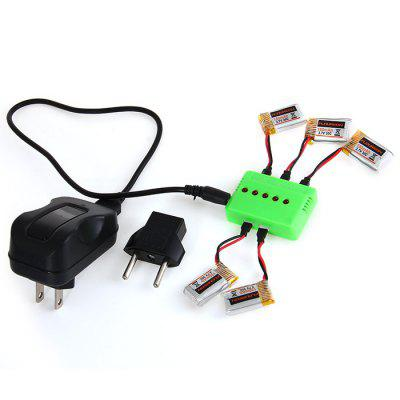 5 - Port Charger 5 Pcs 3.7V 150mAh 30C Battery for Floureon H101 RC Quadcopter US Plug with EU Connector