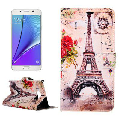 ENKAY PU Leather Smart Fit Wallet Flap Case Stand Design Flower Brown Eiffel Tower Pattern with Credit Card Slot for Samsung Galaxy Note 5 N9200