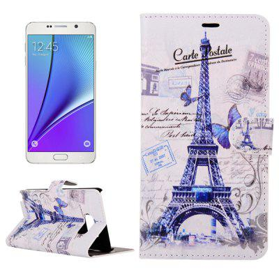 ENKAY PU Leather Smart Fit Wallet Flap Case Stand Design Butterfly Eiffel Tower Pattern with Credit Card Slot for Samsung Galaxy Note 5 N9200