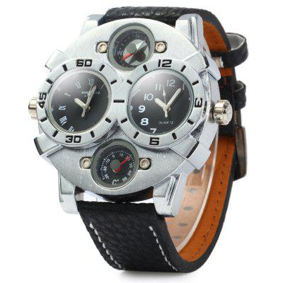 Shiweibao A1203 Leather Band Male Dual Movt Quartz Watch with Compass Function