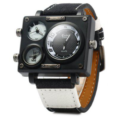 Buy BLACK Oulm 3595 Canvas + Leather Band Male Three Movt Quartz Watch for $10.42 in GearBest store