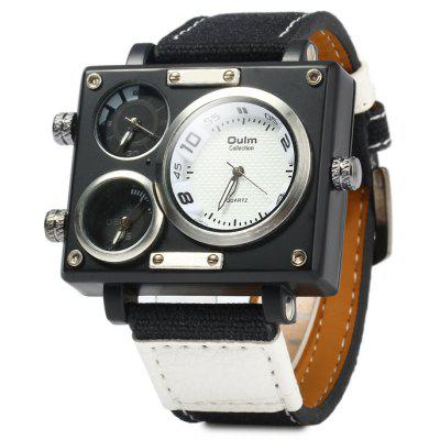 Oulm 3595 Canvas + Leather Band Male Three Movt Quartz Watch