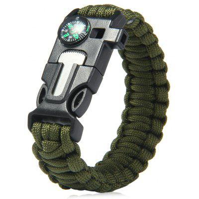 Buy 5 in 1 Outdoor Survival Paracord Bracelet ARMY GREEN for $2.95 in GearBest store