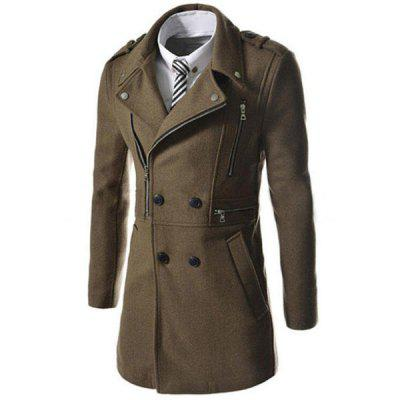 Men's Elegant Lapel Multi-Zipper Long Sleeves Peacoat