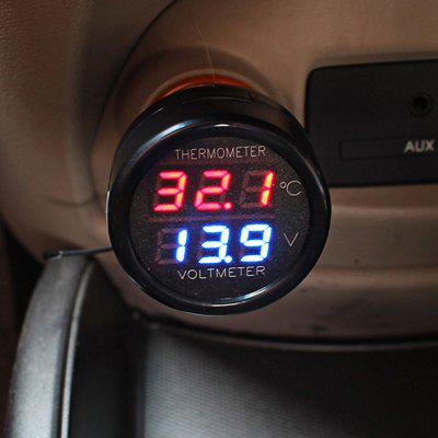 CS-302 12 - 24V Car Voltmeter and Thermometer with LED Indicator