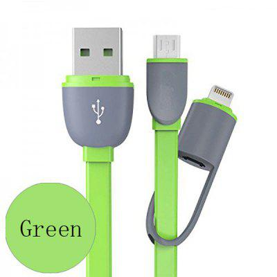 Hat-Prince 2 in 1 Micro USB Interface 8 Pin Adapter Charge and Data Transfer Cable 1m