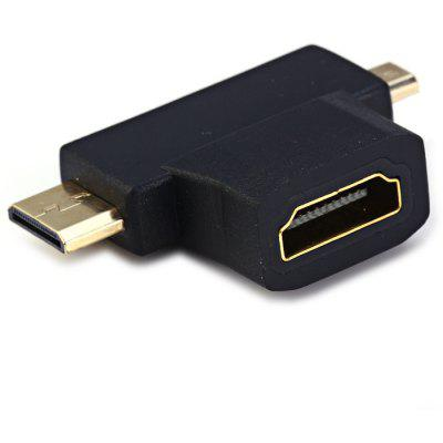 3 in 1 HDMI Female to Mini Micro HDMI Male Adapter