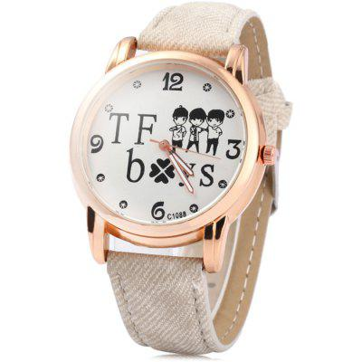 C1088 Women Quartz Watch with Cloth + Leather Band