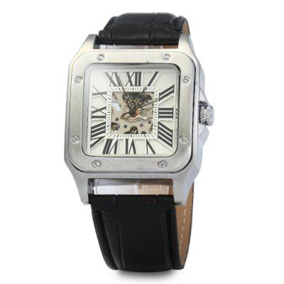 Automatic Mechanical Hollow-out Watch with Leather Band for MenMens Watches<br>Automatic Mechanical Hollow-out Watch with Leather Band for Men<br><br>Available Color: Black<br>Band material: Leather<br>Case material: Stainless Steel<br>Clasp type: Pin buckle<br>Display type: Analog<br>Movement type: Automatic mechanical watch<br>Package Contents: 1 x Automatic Mechanical Watch<br>Package size (L x W x H): 26.5 x 4.7 x 2.5 cm / 10.41 x 1.85 x 0.98 inches<br>Package weight: 0.135 kg<br>Product size (L x W x H): 25.5 x 3.7 x 1.5 cm / 10.02 x 1.45 x 0.59 inches<br>Product weight: 0.085 kg<br>Shape of the dial: Square<br>The band width: 2.0 cm / 0.79 inches<br>The dial diameter: 3.7 cm / 1.45 inches<br>The dial thickness: 1.5 cm / 0.59 inches<br>Watch style: Business<br>Watches categories: Male table<br>Wearable length: 19 - 23 cm / 7.48 - 9.06 inches