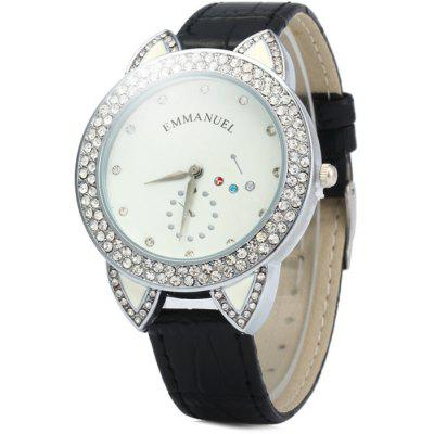 Emmanuel S520 Ear Design Female Quartz Watch with Leather Band