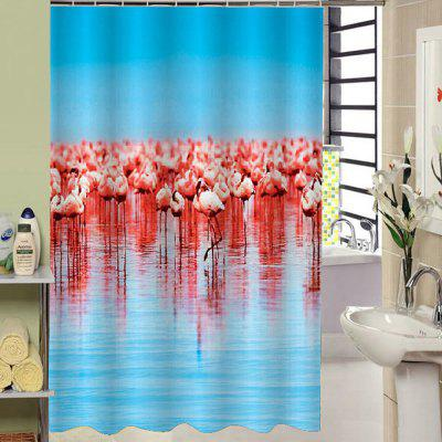 3D Red-crowned Bath Curtain