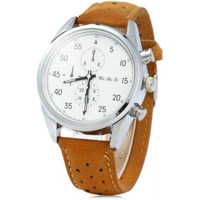 Weiyaqi 89016 Date Display Male Quartz Watch with Nubuck Leather Strap