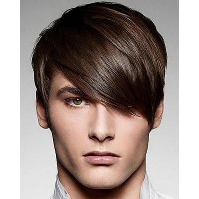 Moda Silky Straight Curta Sintética Stunning Deep Brown Capless Inclined Bang Wig For Men