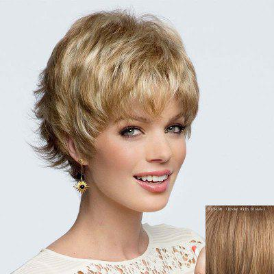 Buy BROWN WITH BLONDE Elegant Short Side Bang Fluffy Wavy Side Bang Capless Human Hair Wig For Women for $44.75 in GearBest store