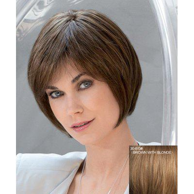 Buy BROWN WITH BLONDE Stylish Short Natural Straight Inclined Bang Capless Real Human Hair Women's Bob Haircut Wig for $65.10 in GearBest store