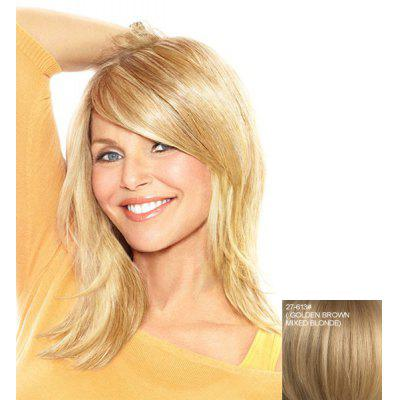Buy ASH BLONDE 27/613# Stunning Fluffy Natural Wave Real Human Hair Side Bang Medium Capless Wig For Women for $93.65 in GearBest store