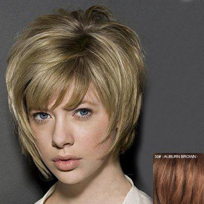 Buy AUBURN BROWN Human Hair Short Capless Stunning Shaggy Straight Inclined Bang Wig For Women for $56.69 in GearBest store