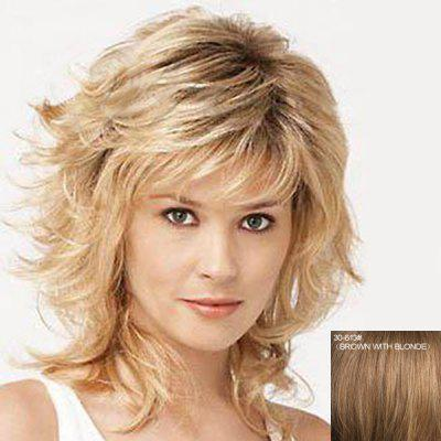 Buy BROWN WITH BLONDE Stunning Medium Capless Bouffant Wavy Side Bang Human Hair Wig For Women for $92.22 in GearBest store