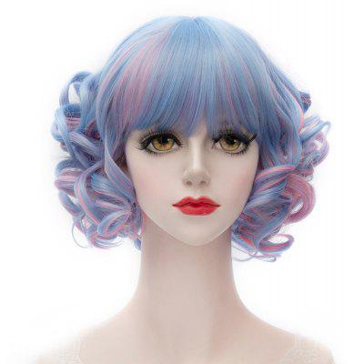 Trendy Short Heat Resistant Fiber Full Bang Fluffy Curly Blue Mixed Pink Capless Women's Wig