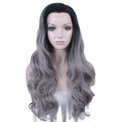 Buy COLORMIX Long Fluffy Wavy Black Ombre Gray Synthetic Trendy No Bang Lace Front Wig For Women for $79.93 in GearBest store