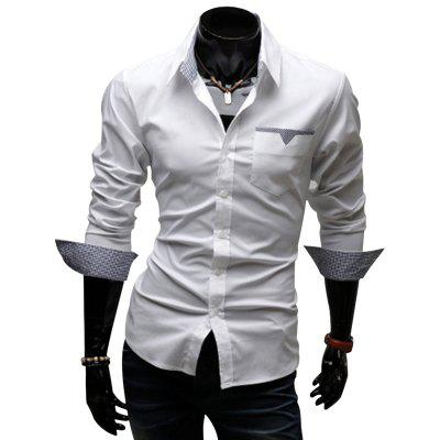 Buy WHITE Stylish Turn Down Collar Long Sleeve Printed Spliced Button Design Men's Shirt for $17.41 in GearBest store