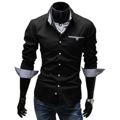 Buy BLACK Stylish Turn Down Collar Long Sleeve Printed Spliced Button Design Men's Shirt for $12.49 in GearBest store