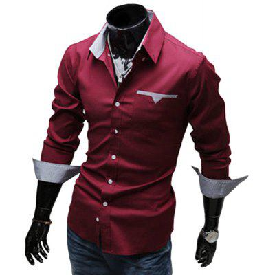 Buy WINE RED Stylish Turn Down Collar Long Sleeve Printed Spliced Button Design Men's Shirt for $16.26 in GearBest store