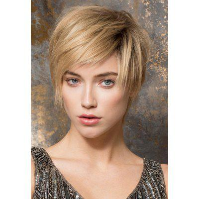 Buy COLORMIX Vogue Side Bang Heat Resistant Fiber Short Straight Light Blonde Mixed Black Capless Women's Wig for $12.87 in GearBest store