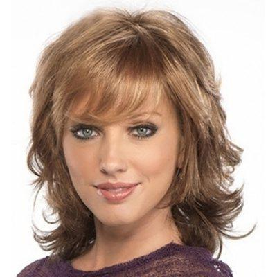 Buy COLORMIX Towheaded Curly Vogue Blonde Mixed Brown Synthetic Medium Side Bang Capless Wig For Women for $15.73 in GearBest store